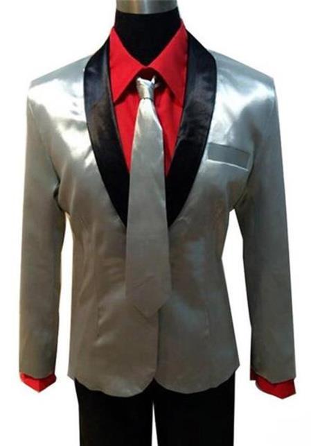 Men's Shawl Lapel Silver Suit