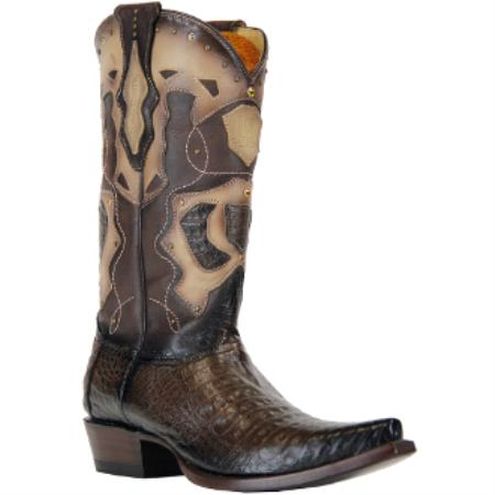 Buy AC-384 Mens King Exotic Boots Caiman Belly Snip Toe Faded Brown