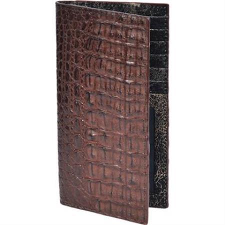 Chequera caiman ~ World Best Alligator ~ Gator Skin Lomo Men's Wallet - Cafe