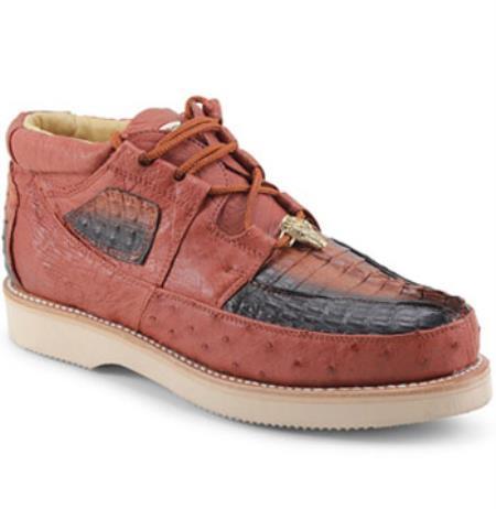 Los Altos Genuine GRAY Caiman Crocodile Ostrich Casual Shoes Lace Up D