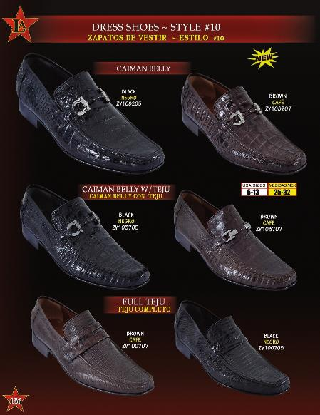 Buy BMA8102 Men's Genuine caiman ~ alligator Belly/Teju Lizard Slip ~ Loafer Dress Shoes Black & Brown