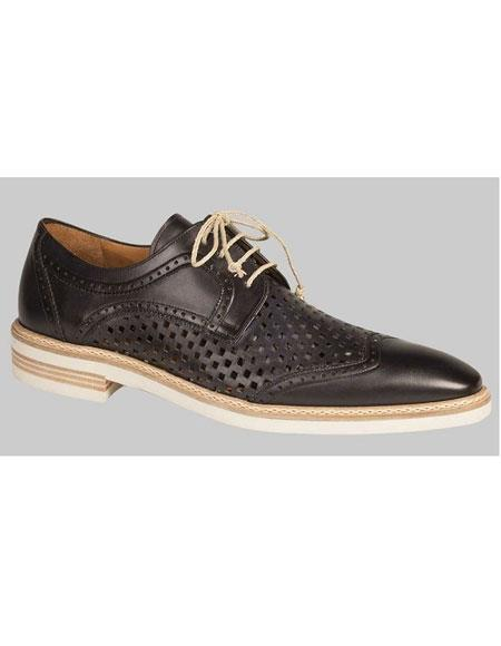 Buy GD492 Men's Handmade Black Perforated Leather Inlay Casual Lace Shoes Authentic Mezlan Brand