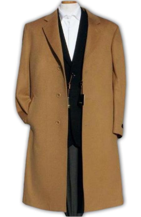 Alberto Nardoni Camel ~ Bronze Beige Men's Overcoat Full Length Wool & Cashmere Winter Men's Topcoat Sale