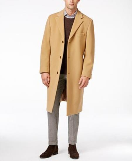 Mens Dress Coat Designer Brand Ralph Luren Cashmere-Blend Overcoat Camel