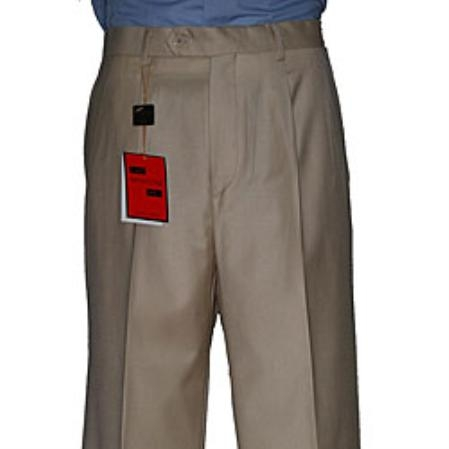 SKU#UX423 Mens Camel ~ Khaki Single-pleat Wool Pants