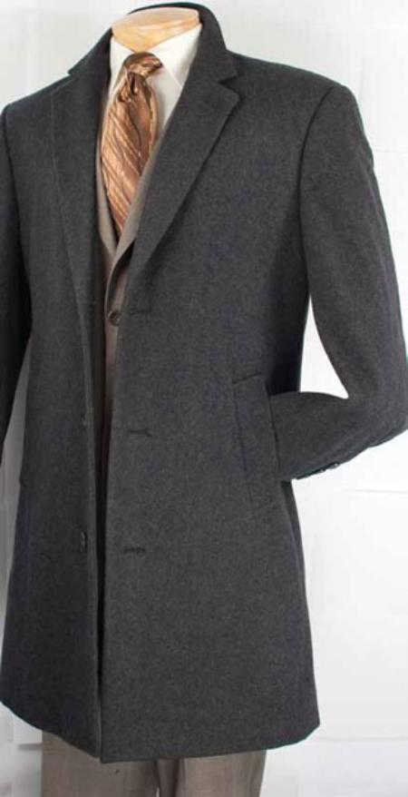 SKU#BX8289 Mens Car Coat Collection in a Soft Cashmere Blend - Charcoal Grey