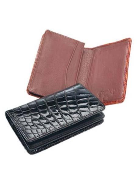 Mens Genuine Exotic Animal Skin Ferrini Crocodile Card Holder