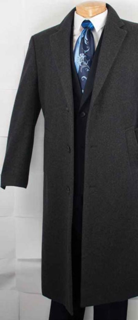 SKU#XV9222 Mens Cashmere Blended Top Coat - Charcoal Grey