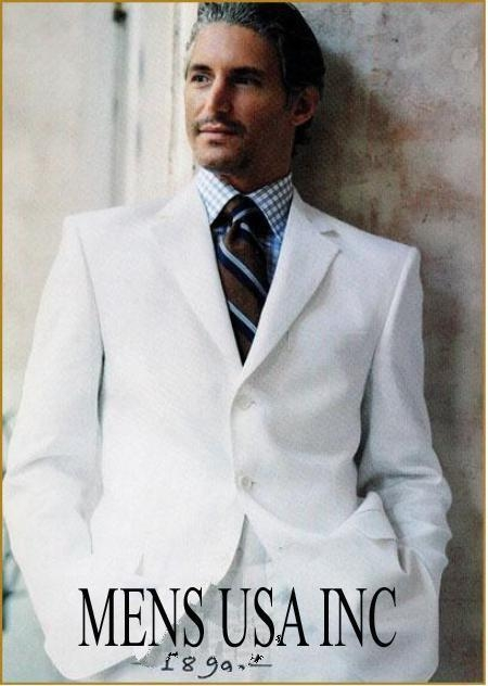 SKU# FNK317 Mens Casual Dressy White Suit in Super Ultra Soft fabric, 3 Button Fully Lined Only Jacket Blazer