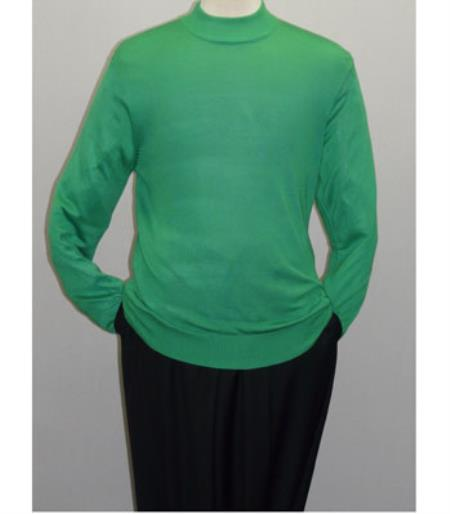 Buy SS-103 Mens INSERCH Pear Green Mock Neck Pullover Knit Sweater High Collar Casual Dress