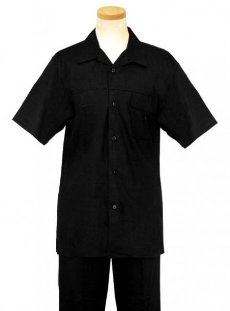 Mens Linen / Cotton Short sleeves 2 Piece Summer Casual Two Piece Walking Outfit For Sale Pant Sets Casual Suit Short sleeve Shirt + Pants Black
