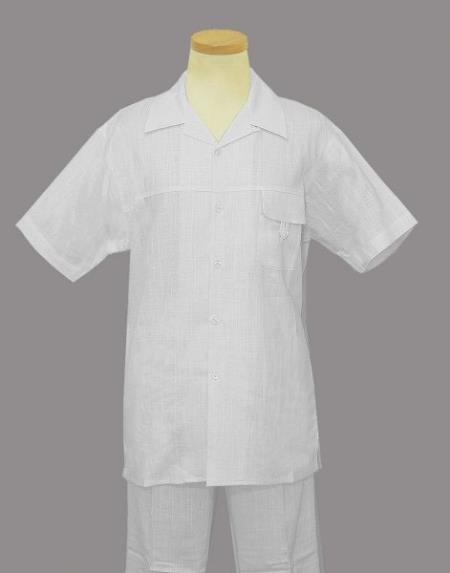 7892d07076 Mens Linen   Cotton French Cuffs 2 Piece Summer Casual Two Piece Walking  Outfit For Sale Pant Sets Casual Suit Short sleeve Shirt + Pants White all  white ...