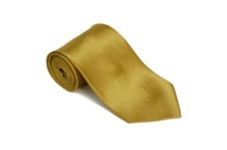 Ceylonyellow 100% Silk Solid Necktie With Handkerchief