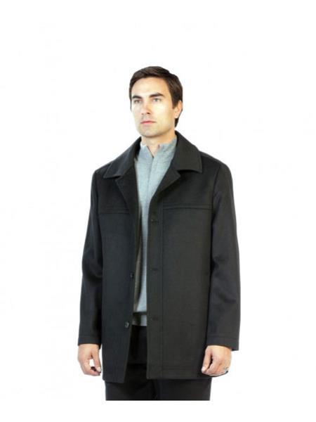 Mens Dress Coat Charcoal Pea Coat Outerwear