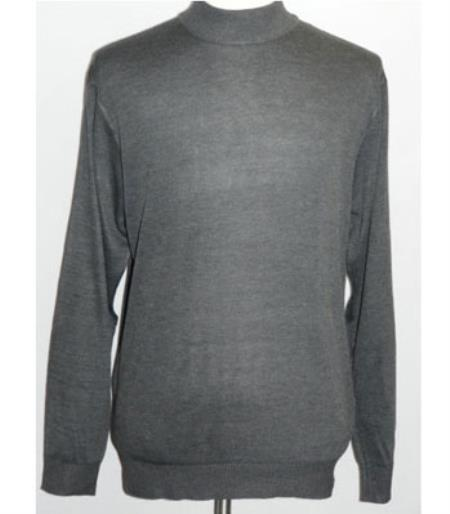Buy SS-107 Men's Charcoal INSERCH Mock Neck Pullover Knit Sweater High Collar Knit