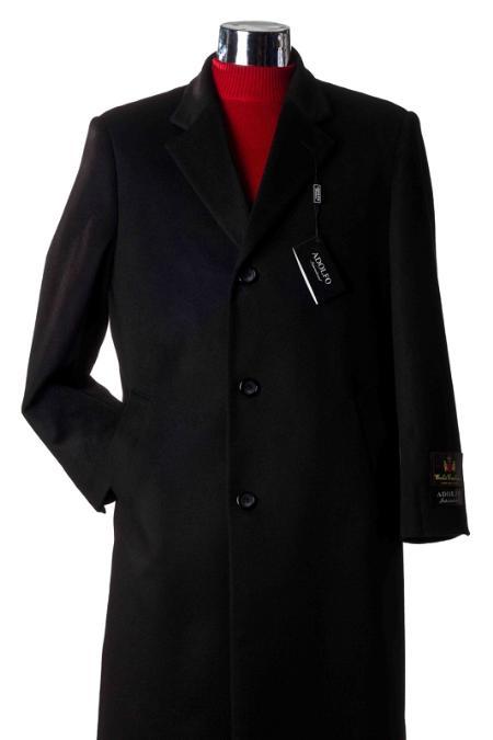 Mens Dress Coat Long Wool Winter Dress Knee length Coat 3/4 Cashmere Wool Topcoats ~ overcoat Charcoal