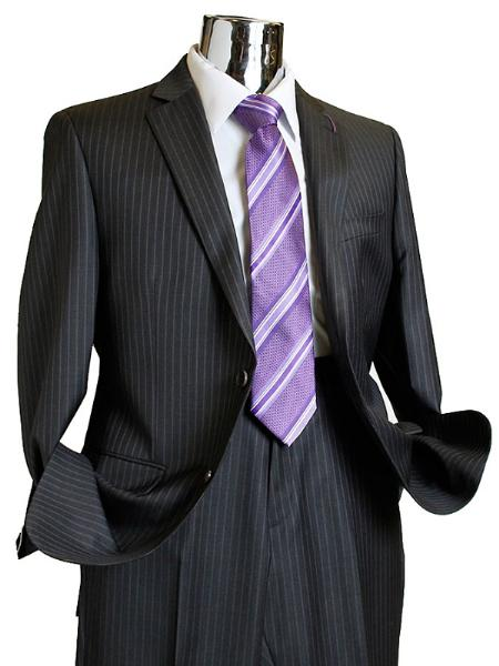 Men's Charcoal Pinstripe 100% Wool - Color: Dark Grey Suit