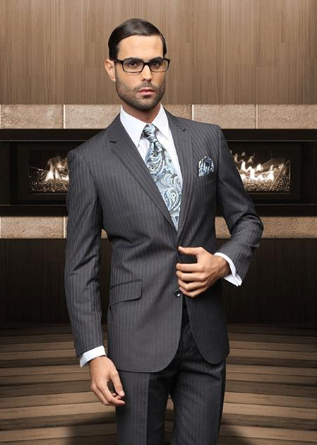 TZBer Pick Stitch Collar Slanted Pocket 2 Button Charcoal Shadow Stripe ~ Pinstripe Suit