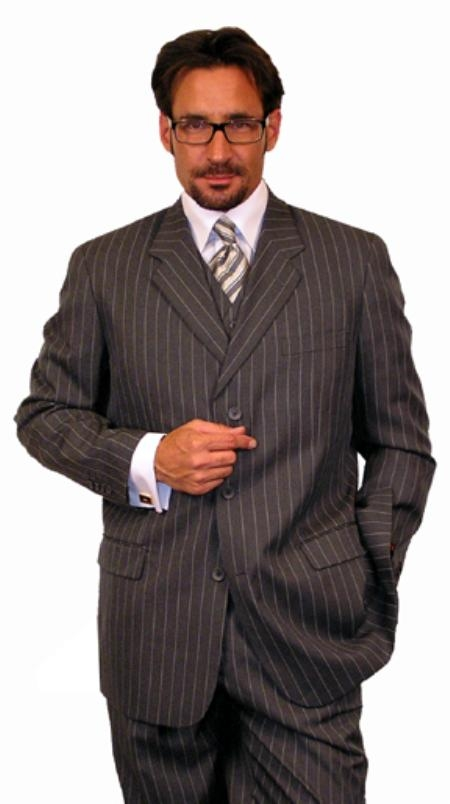 Mens 1920s 30s Fashion Look Available in 2 or 3 buttons Charcoal Gray Chalk Bold Pinstripe Vested 3 Piece three piece suit - Jacket + Pants + Vest