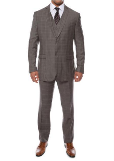 Zonettie Lazio Charcoal 3 Piece Vested Window Pane Slim Fit Plaid Suit