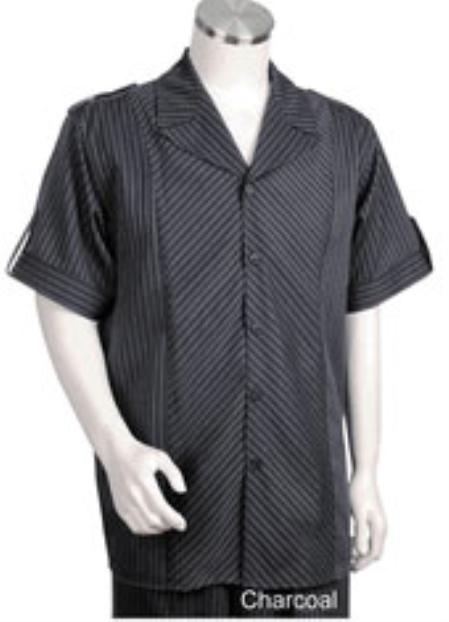 Mens Charcoal Tone Button Closure Single Breasted Short Sleeve Suit