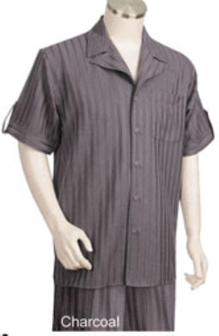Mens Charcoal Tone Single Breasted Short Sleeve Pinstripe Walking Outfit