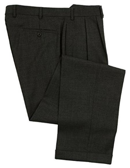 Ralph Lauren 100% Wool Double-Reverse Pleated Lined To The Knee Dress Pants Slacks Charcoal unhemmed unfinished bottom