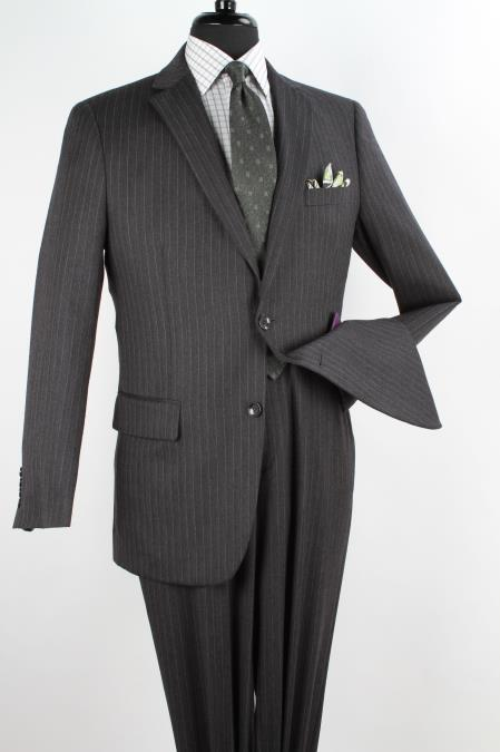 Men's 2 Piece 100% Wool Executive Suit - Charcoal with Silver Stripe ~ Pinstripe