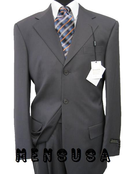 SKU# XIH879 Mens Darkest Charcoal Almost Black 100% Wool. (SUPER 140) 3 buttons, Double Back Vent Pleated Pants