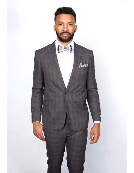 Mens Rossiman Rossi Man Brand Charcoal 100% Wool Plaid Tapered Leg Lower Rise Pants & Get Skinny 1 Button Slim Fit Peak Lapel Suit