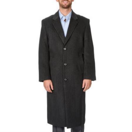 Mens Dress Coat Harvard Charcoal Herringbone Tweed Full-Length Coat Overcoat ~ Long Mens Dress Topcoat -  Winter coat Tweed houndstooth checkered Pattern