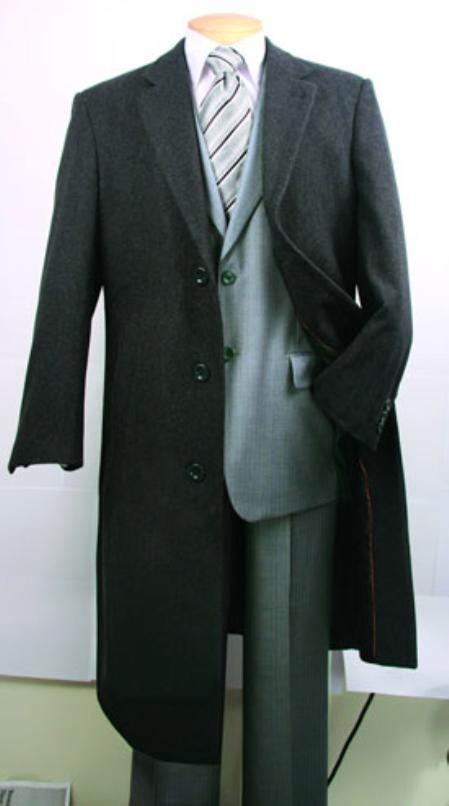 SKU#FM402 Mens Charcoal Fully Lined Wool Blend Top Coat