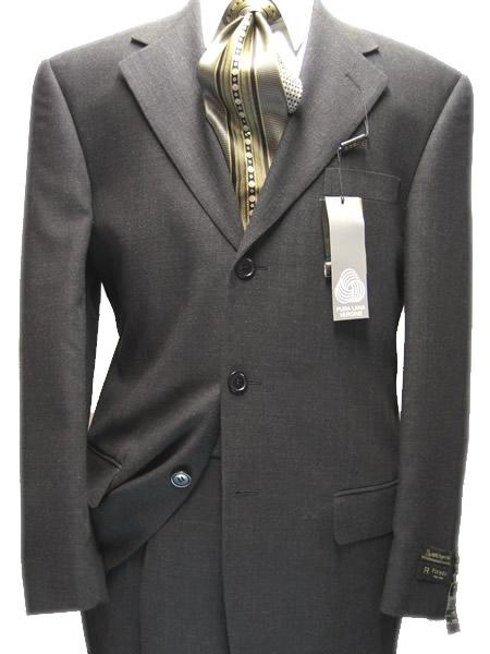 SKU# M29 Mens Charcoal Gray 100% Wool 3 Buttons Super 120s Suit