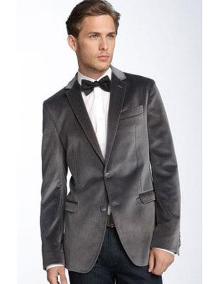 Buy Velvet-2BV Alberto Nardoni Brand Mens Gray ~ Grey 2 Button Single Breasted Velvet Blazer Side Vented