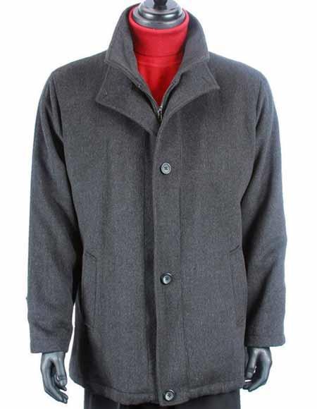 Mens Dress Coat Wool Cashmere Solid Pattern Warm Dress Trendy Charcoal Gray Mens Car Coat Jacket