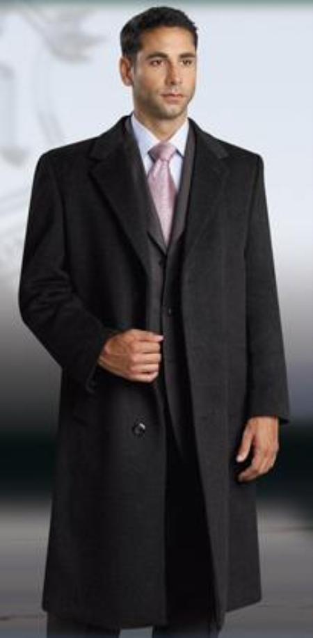 Single Breasted 3 Button Jet Black Men's Dress Coat Full Length Wool and Cashmere Men's Overcoat