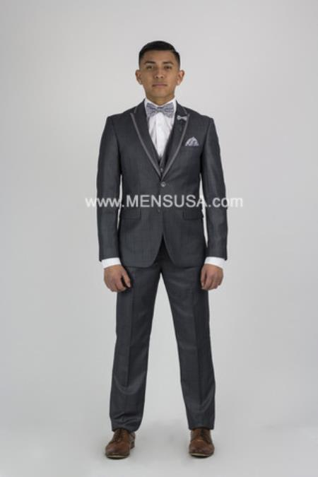 Men's Charcoal Grey Tux ~ Gray Tuxedo Black Lapel With Vented Wedding Groom Suit Online Discount Fashion Sale
