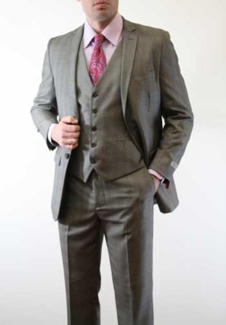 Mens Slim Fitted Skinny Vested Three Piece Suit Plaid Window Pane Grey ~ Charcoal - Color: Dark Grey Suit