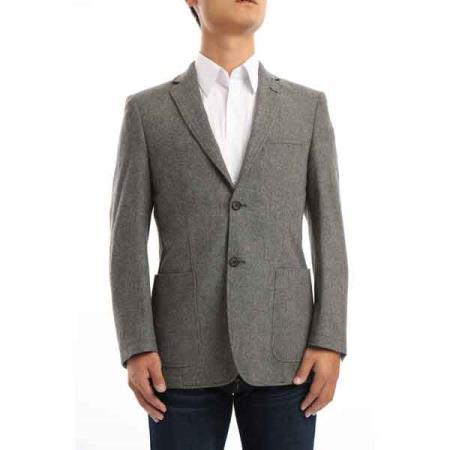 Men's Contrast Stitch Classic Fit Wool Blazer Charcoal Grey