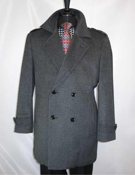 Mens Dress Coat Double Breasted Wool Full Collar ¾ Length Charcoal Grey 4 Buttons Carcoat