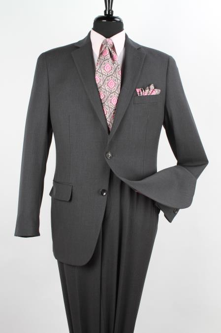 Mens 2 Piece 100% Wool Executive Suit - Notch Lapel Solid Charcoal Grey