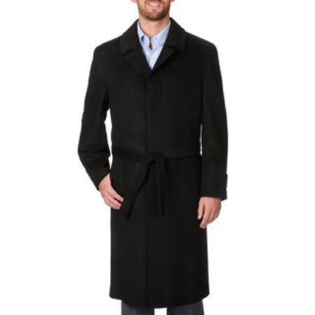 Mens Dress Coat Harvard Charcoal Cashmere Blend Long Top Coat - Mens Overcoat