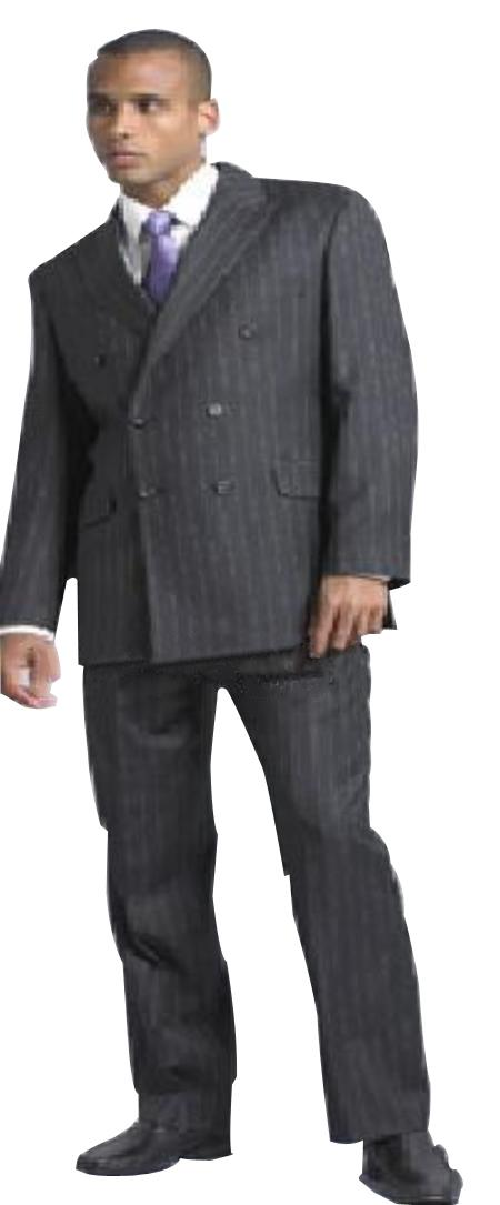 Men's Charcoal Pinstripe Double Breasted Suits Super 140's Wool - Color: Dark Grey Suit