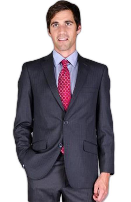 Men's Slim Fit Charcoal Stripe ~ Pinstripe 2-Button Suit