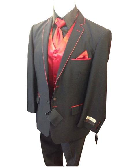 Men's Charcoal Red Trimmed On Lapel And Pockets Long Sleeve Jacket
