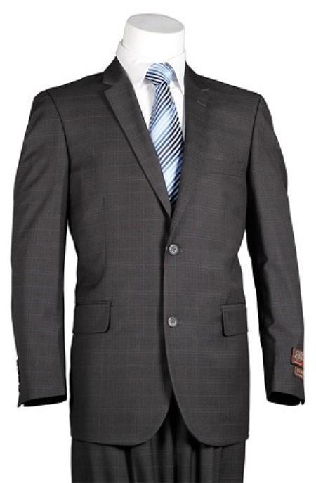 Mens Plaid Suit Vitali Charcoal Windowpane 2 Button Men's Slim Cut Suit