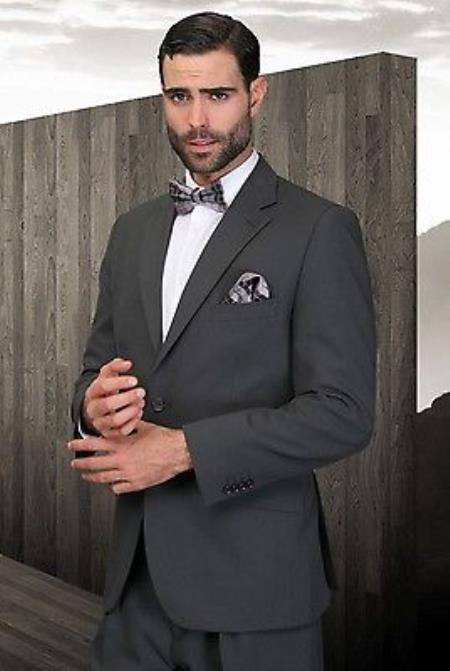 mens pleated pants athletic cut charcoal poly~rayon fabric modern cut 2 button suit
