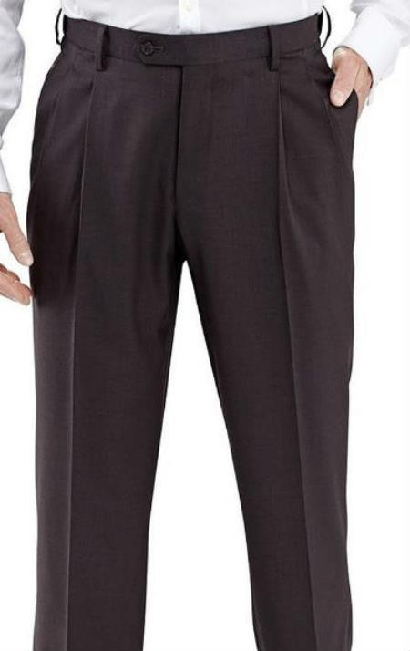 Winthrop & Chruch Mens 100% Wool Pleated Dress Pants Charcoal unhemmed unfinished bottom