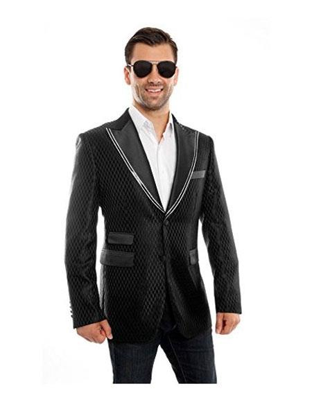 SKU#AP797 Mens 2 Buttons Checked Pattern Trimmed Peak Lap