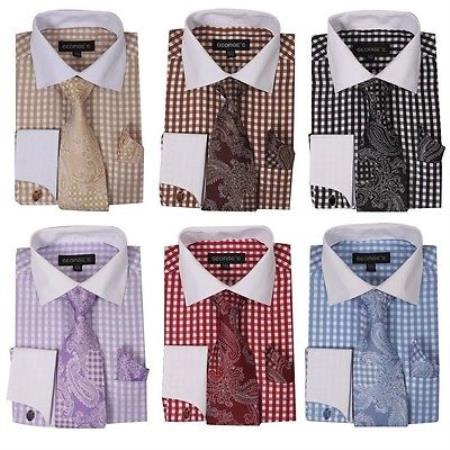 Checker French Cuff Set White Collar Two Toned Contrast Tie Handkerchief Varies Colors Mens Dress Shirt